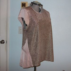 Apt 9 Size XL Pink Gold Sparkly Blouse Pleated Top